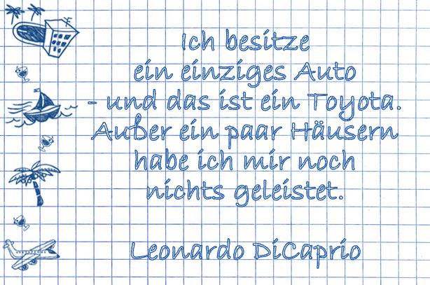 Lustige Urlaubssprüche: Auto von Leonardo DiCaprio